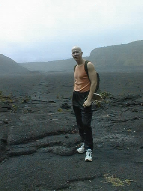 Tom on Hawaii with dried crater behind me
